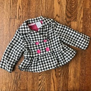 Young Hearts Hounds Tooth & Hot Pink Jacket Coat